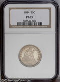 Proof Seated Quarters: , 1884 25C PR63 NGC. Sharply struck with frosted golden devices andwatery gray-green fields, that also show a coating of clo...