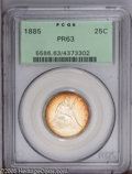 Proof Seated Quarters: , 1885 25C PR63 PCGS. Yet another in a string of tiny business strikemintages that put extra pressure on proof issues. A nar...