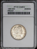 Proof Barber Quarters: , 1894 25C PR63 Cameo ANACS. Flashy proof surfaces exhibit a nice cameo contrast, and are overlain with a light layer of gold...
