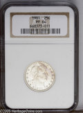 Proof Barber Quarters: , 1901 25C PR64 NGC. Bright white save for a hint of gold on the upper obverse. There is a thin scratch on the back of Libert...