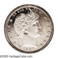Proof Barber Quarters: , 1907 25C PR66 Cameo PCGS. The mirror-like fields contrast nicely with the suitably frosted devices. A light amount of golde...