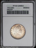 Proof Barber Quarters: , 1912 25C PR63 ANACS. A light haze of gold-tan patina runs over luminous proof surfaces. The cameo is quite pronounced, and ...