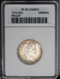 Proof Barber Quarters: , 1914 25C PR63 Cameo ANACS. Well struck, frosted design elements appear to float over deep watery fields. A thin layer of ir...