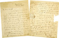 Autographs:Statesmen, Sam Houston Autograph Letter to William Worth, Signed Twice....