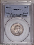 Washington Quarters: , 1932-S 25C MS63 PCGS. Fully lustrous and attractively toned in warmhues of gold and lilac. The assigned grade of MS63 is v...