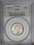 Washington Quarters: , 1934-D 25C Medium Motto MS65 PCGS. A touch of mottled russet toningis noted on both sides of this lustrous and satiny Gem....