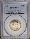 Washington Quarters: , 1950 25C MS67 PCGS. Ex: Daniel D. Biddle Collection. Virtuallypristine surfaces exhibit lovely mint frost and varying shad...