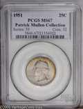 Washington Quarters: , 1951 25C MS67 PCGS. Patrick Mullen Collection. A boldly struck,nearly flawless, and impressively toned specimen. The centr...