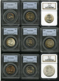 Washington Quarters: , 1958 25C MS67 PCGS, colorfully toned on both sides, probably ofmint set origin; 1950 Half Dollar MS65 PCGS, a crescent... (Total:9 Coins)