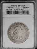 Early Half Dollars: , 1795 50C 2 Leaves--Scratched--ANACS. Fine 12 Details. O-110a, R.4.The reverse has two berries under each wing, all on the ...
