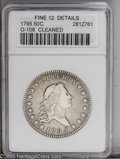 Early Half Dollars: , 1795 50C 2 Leaves--Cleaned--ANACS. Fine 12 Details. O-108, R.4. Thecleaning evidence is not too distracting and the coin h...