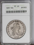 Early Half Dollars: , 1805 50C XF40 ANACS. O-112, R.2. O-112, O.2. A well struck cointhat has medium gray color with silver highlights on the de...
