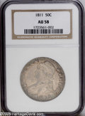 Bust Half Dollars: , 1811 50C Large 8 AU58 NGC. O-104a, R.1. Still highly effulgent withminimal friction on the highpoints and interspersed oli...