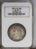 Bust Half Dollars: , 1811/10 50C AU55 NGC. O-101, R.1. A premium example for the gradewith gray and gold centers with richer copper-gold and ro...