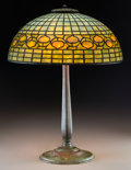Art Glass:Tiffany , Tiffany Studios Leaded Glass and Bronze Acorn Table Lamp.Circa 1910. Stamped TIFFANY STUDIOS, NEW YORK, 534; 14...