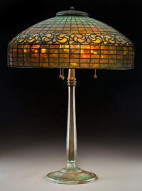 Tiffany Studios Leaded Glass and Bronze Lemon Leaf Table Lamp Circa 1910. Stamped
