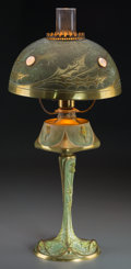 Decorative Arts, French:Lamps & Lighting, George Leleu Art Nouveau Oil Lamp with Thistle Motif. Circa 1905.Incised G. Leleu, Salon 1904. Ht. 22-5/8 in. (base and sha...