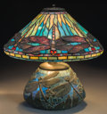Art Glass:Other , George Wood Tiffany Studios-Style Dragonfly Table Lamp.Circa 1915. Ht. 16-3/4 x 16-1/2 in.. ...