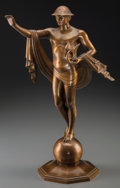 Bronze:American, The Joseph Freedlander Bronze Prototype Mercury Statue forFifth Avenue Traffic Lights. Circa 1929. Ht. 17-1/2 i...
