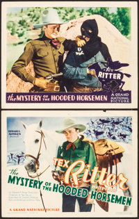 """The Mystery of the Hooded Horsemen (Grand National, 1937). Title Lobby Card & Lobby Card (11"""" X 14"""")..."""