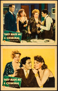 """Movie Posters:Crime, They Made Me a Criminal (Warner Brothers, 1939). Linen Finish LobbyCards (2) (11"""" X 14""""). Crime.. ... (Total: 2 Items)"""