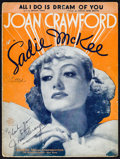 """Movie Posters:Romance, Joan Crawford in Sadie McKee (MGM, 1934). Autographed Sheet Music (9"""" X 12""""). Romance.. ..."""