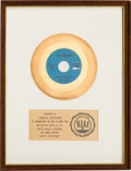 "Music Memorabilia:Awards, Turtles ""Happy Together"" RIAA White Mat Gold Record Sales Award(White Whale WW-244, 1967)...."