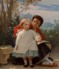 Paintings, Leon Jean Basile Perrault (French, 1832-1908). A reading lesson. Oil on panel. 18-1/2 x 15 inches (47.0 x 38.1 cm). Sign...