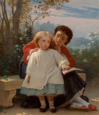 Leon Jean Basile Perrault (French, 1832-1908) A Reading Lesson Oil on panel 18-1/2 x 15 inches (4