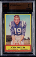 Football Cards:Singles (1960-1969), 1963 Topps Johnny Unitas #1 BVG NM 7....