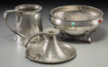 "Silver Holloware, British, Three Liberty & Co. Tudric Pewter Table Articles. Early20th century. Stamped ""TUDRIC"", MADE IN ENGLAND, 066... (Total: 3Items)"