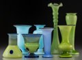 Art Glass:Other , Eight Tango-Style Art Glass Vases. 20th century. Three stamped Madein Czechoslovakia. Ht. 12-1/2 in. (tallest). PROPERTY ... (Total: 8Items)