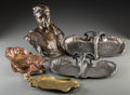 Decorative Arts, Continental:Other , Five Art Nouveau Bronze, Copper, and Silver-Plated Table Articles.Early 20th century. Marks to bust KIS JOZSEF, 1906. H...(Total: 5 Items)