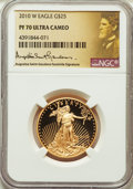 Modern Bullion Coins, 2010-W $25 Half-Ounce Gold Eagle, St. Gaudens Signature PR70 Ultra Cameo NGC. NGC Census: (0). PCGS Population: (967)....