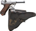 Handguns:Semiautomatic Pistol, German S/42 Code G Date Luger Semi-Automatic Pistol with Leather Holster.... (Total: 2 Items)