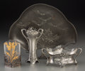 Decorative Arts, Continental:Other , Four Art Nouveau Pewter, Silver-Plated, and Silver-Mounted TableArticles. Early 20th century. Ht. 9-5/8 x 11-1/4 in. (large...(Total: 4 Items)