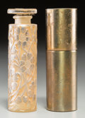 Art Glass:Lalique, R. Lalique Clear and Frosted Glass Cinq Fleurs PerfumeBottle with Sepia Patina and Brass Case. Circa 1924. Mold...