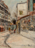 Paintings, Maurice Utrillo (French, 1883-1955). Rue Lepic à Montmartre. Oil on panel. 13 x 9-1/4 inches (33.0 x 23.5 cm). Signed lo...