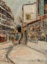 Maurice Utrillo (French, 1883-1955) Rue Lepic à Montmartre Oil on panel 13 x 9-1/4 inches (33.0 x