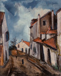 Paintings, Maurice de Vlaminck (French, 1876-1958). Rue de village, circa 1920-22. Oil on canvas. 36 x 29 inches (91.4 x 73.7 cm). ... (Total: 2 Items)