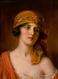 Albert Lynch (Peruvian, 1851-1912) A fashionable beauty Oil on canvas 16-1/4 x 12 inches (41.3 x