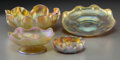 Art Glass:Tiffany , Four Tiffany Studios Gold Favrile Glass Bowls. Circa 1900-1910.Engraved: L.C.T. Ht. 2-3/8 x 6-1/8 in. (largest). ...(Total: 4 Items)