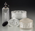 Art Glass:Lalique, Four Lalique Clear and Frosted Glass Vanity Items. Circa 1931 andlater. Stenciled and engraved: LALIQUE, FRANCE. M p....(Total: 4 Items)