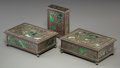 Art Glass:Tiffany , Three Tiffany Studios Patinated Bronze and Glass GrapevinePattern Desk Boxes . Circa 1900. Marks: TIFFANY STUDI... (Total: 3Items)