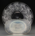 Art Glass:Lalique, R. Lalique Opalescent Glass Medicis Ashtray and Clear Glass Ormeaux Plate. Circa 1924-1931. Engraved... (Total: 2 Items)