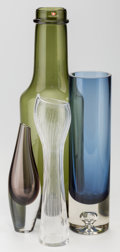 Glass, Tapio Wirkkala (Finnish, 1915-1985). Four Vessels, circa 1950-1960, Iittala. Blown, cased, and line-cut glass. 13 inches... (Total: 4 Items)