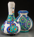 Ceramics & Porcelain, Continental:Modern  (1900 1949)  , Two Charles Catteau For Boch Freres Enameled Earthenware Vases. Circa 1925. Stamped and incised MADE IN BELGIUM, BOCH FES, L... (Total: 2 Items)