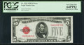 Error Notes:Obstruction Errors, Obstruction Error Fr. 1525 $5 1928 Legal Tender Note. PCGS VeryChoice New 64PPQ.. ...