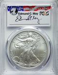 2008-W $1 Silver Eagle, Reverse of 2007, Burnished, Moy Signature SP70 PCGS....(PCGS# 544754)