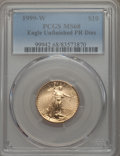 1999-W $10 Quarter-Ounce Gold Eagle, Unfinished Proof Dies, FS-401, MS68 PCGS....(PCGS# 511607)